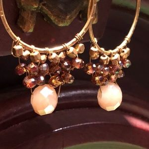 Brass and crystal beaded earrings